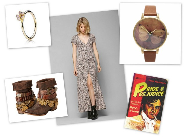 shopping women's fashion blogger wish list spring style Olivia Burton Woodland Butterfly Watch  Freebird Yerba (Brown) Women's Boots  Pride & Prejudice (Pulp! the Classics) by Jane Austen  Flynn Skye Enterie Maxi Dress  Pandora Gold Cherry Blossom Ring