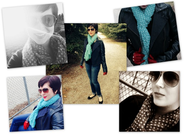 blogger fashion fraas scarf review  blue polka dot scarf accessory