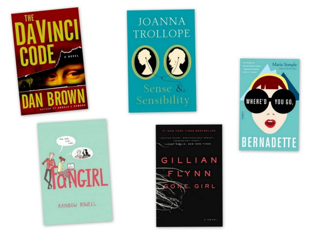 gone girl, where's you go bernadette, good books for book clubs, sense and sensibility, the davinci code, fangirl,
