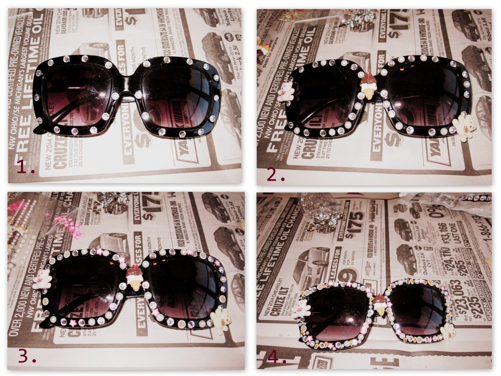 A great project for using up left over craft supplies is this pair of embellished sunglasses. This fun pair is a perfect weekend DIY.