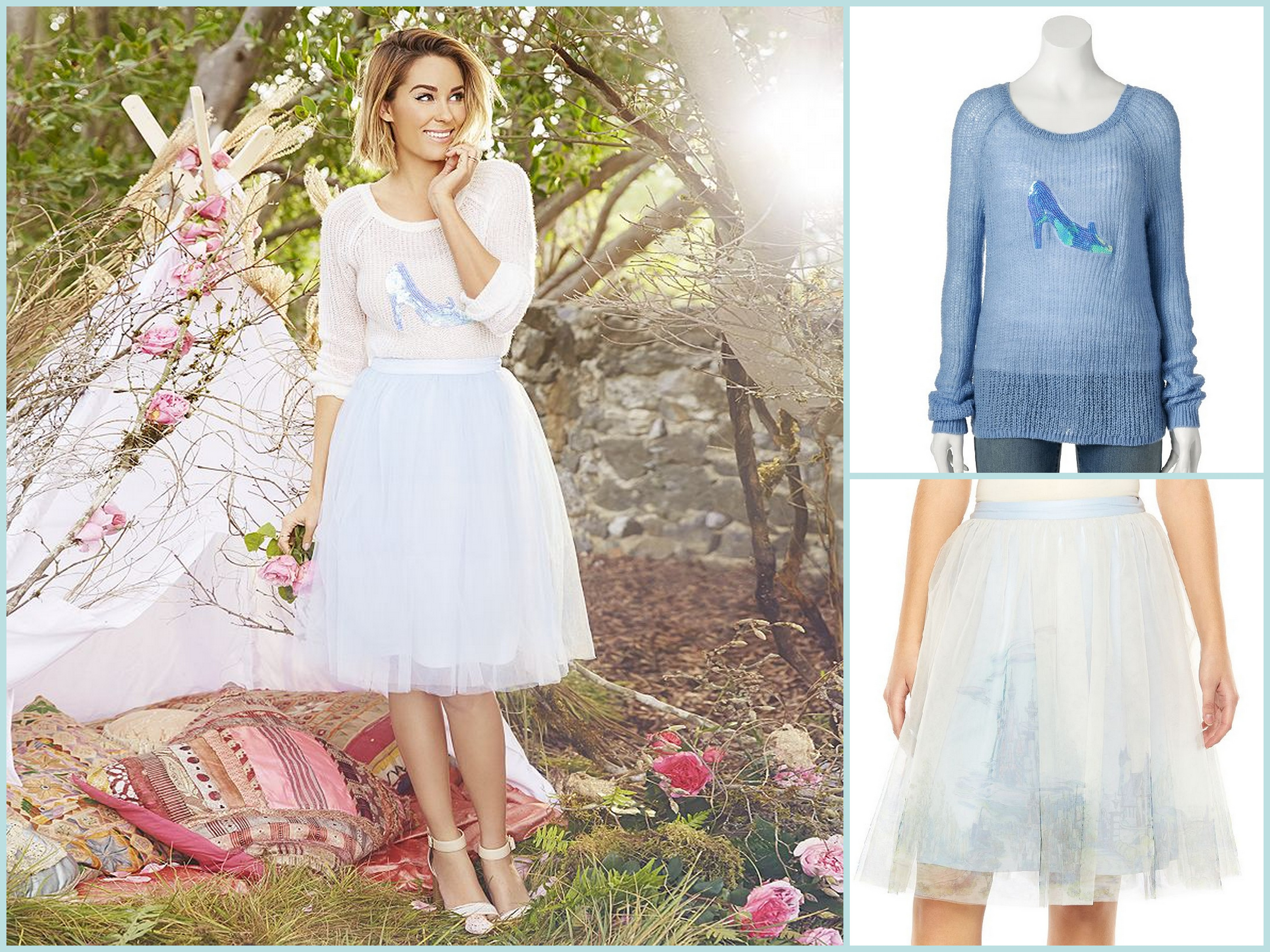 88adff7bf Lauren Conrad designs clothes celebrating Disney's Cinderella. A tulle skirt  and a sweater with a ...