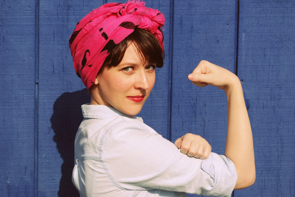 Looking for an easy Halloween costume? Here is an idea for Halloween in your closet... Rosie the Riveter