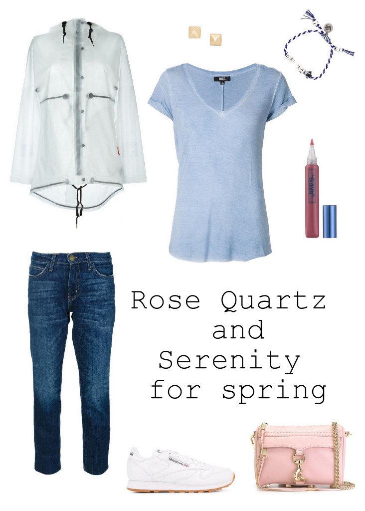 Get ready for spring with this easy rose quartz and serenity look that is the perfect casual outfit for the weekend. Jeans and a tee never looked so good.