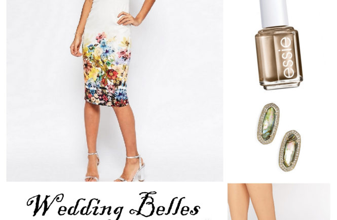 Be the belle of wedding season with a pencil dress, lace up heels and an envelope clutch. Thus sweet look is sure to be a hit.