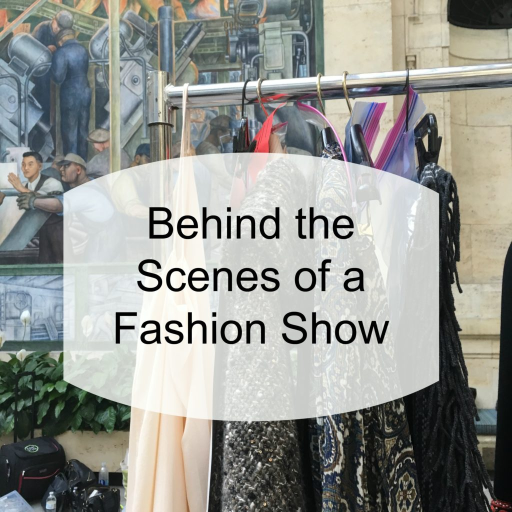 Ever wonder what it's like behind the scenes of a fashion show? Here's a dresser's look at what happens behind the scenes.