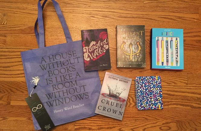 Showing off the bookish goodies my awesome partner sent me for the Books 'n' Bloggers Swap.