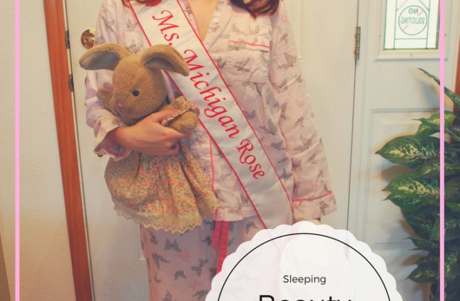 Need a quick and easy Halloween costume? Check your closet! This Sleeping Beauty Queen costume is perfect for lazy girls. Pajamas and crown for the win!