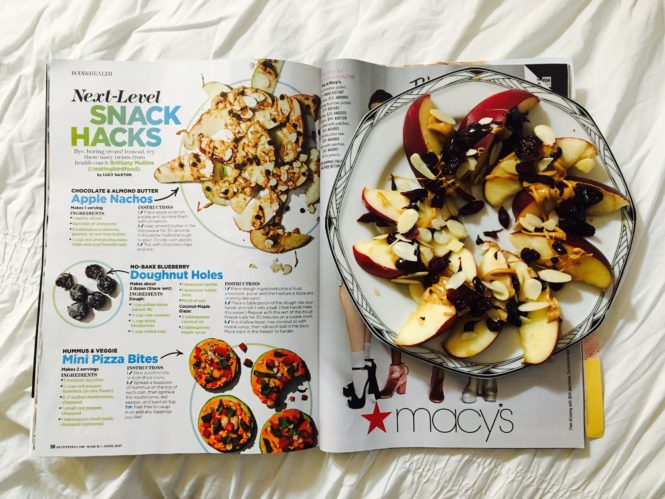 Glossies made me do it... I had to make these apple nachos from Seventeen magazine. It's a snack you'll want to make again and again.