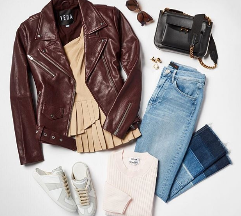 Weekend mood... This leather moto jacket and cropped jeans are anything but basic.