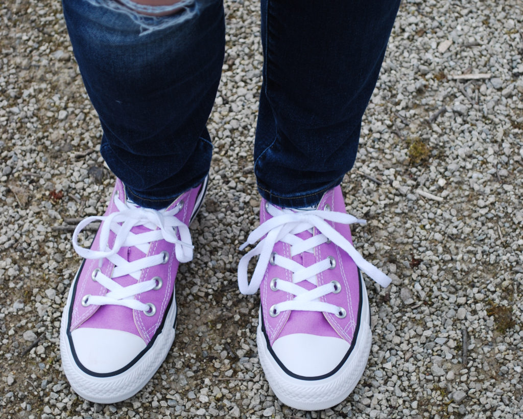 I can't get enough of these purple Converse sneakers!