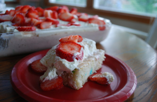 Have you tried this Strawberry Tres Leches Cake from Rachael Ray every day? This cake starts with a boxed mix but is totally bakery worthy.