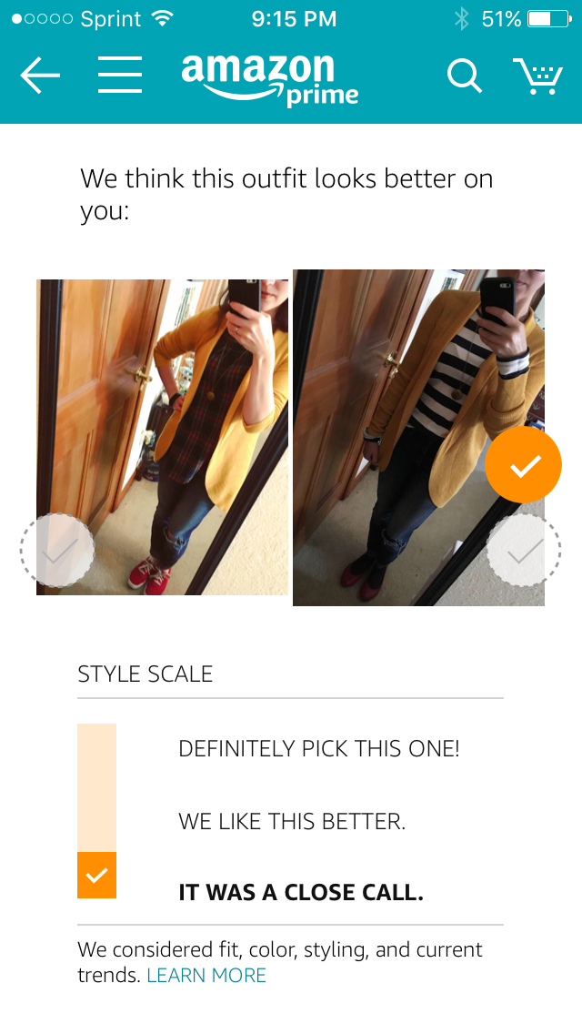 Having trouble deciding between two different looks? Amazon Outfit Compare will help you decide what to wear. Plus, the style advice is free.