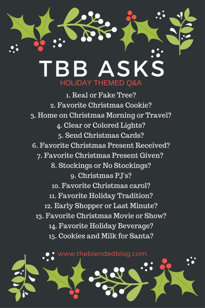 Today, I'm linking up with The Blended Blog for the TBB Holiday Q&A and am sharing my answers to some pressing holiday questions.