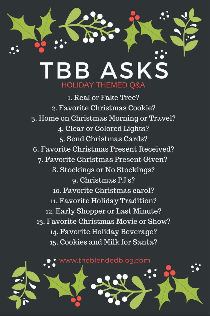 Today, I'm linking up withThe Blended Blogfor the TBB Holiday Q&A and am sharing my answers to some pressing holiday questions.