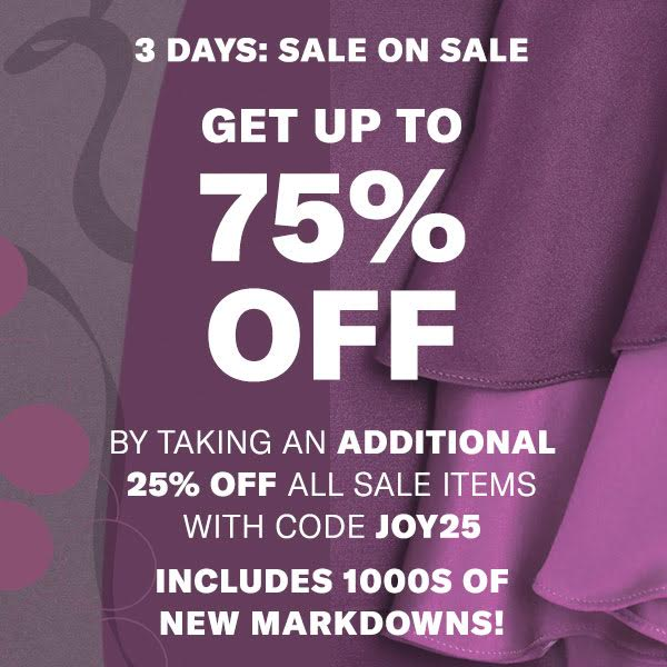 Update your closet before the year ends with this sale on sale happening now at Shopbop! Through December 28th, you can save 25% off items already on sale with code JOY25,