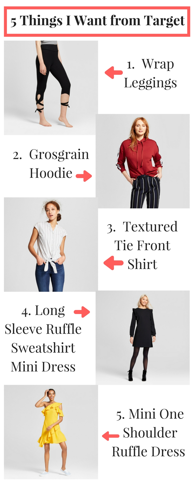 Thanks to labels like Who What Wear, Universal Thread, and A New Day, Target is bringing trendy, affordable clothing to the masses. Here are 5 things I want from Target...